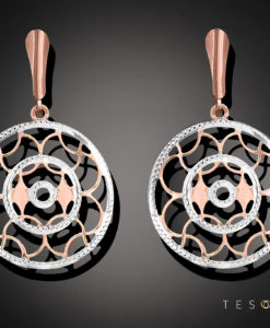 Romagnosi Rose & White Gold Dangle Earrings