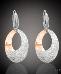 Tesoro Grosseto Rose & White Gold Dangle Earrings