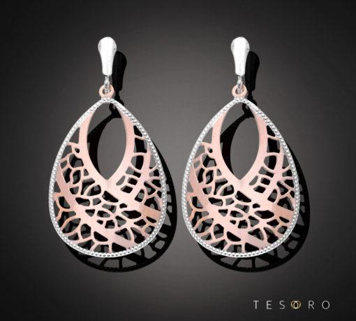 Tesoro Rose & White Gold Dangle Earring