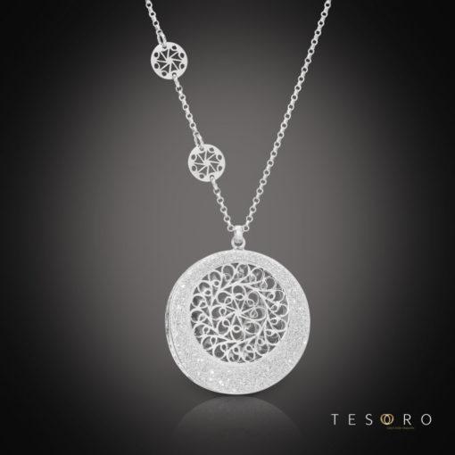 Tesoro Silver Dangle Necklace & Pendant Set