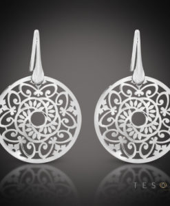 Tesoro Rabbi Round Silver Dangle Earrings