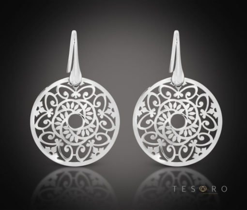 Tesoro Rabbi Round Silver Dangle Earrings
