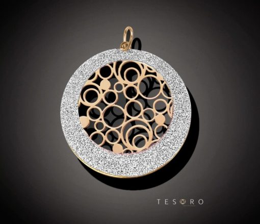 Suzzara Rose Coated Silver Pendant