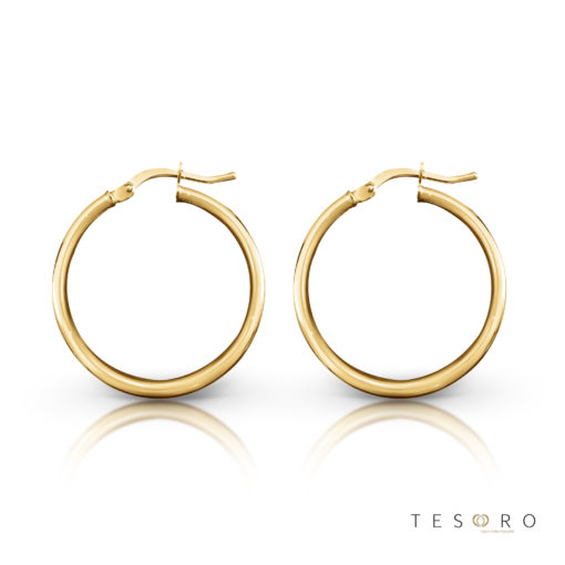 Tesoro Celestine Yellow Gold 20mm Hoop Earring