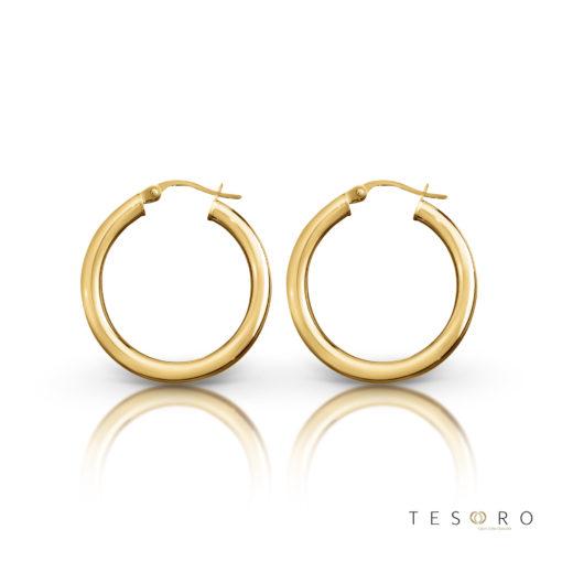 Aosta Gold Hoop Earrings 15mm