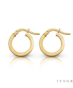 Tesoro Celestine 10mm Yellow Gold Hoop Earrings