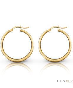 Tesoro Celestine Gold hoop Earrings