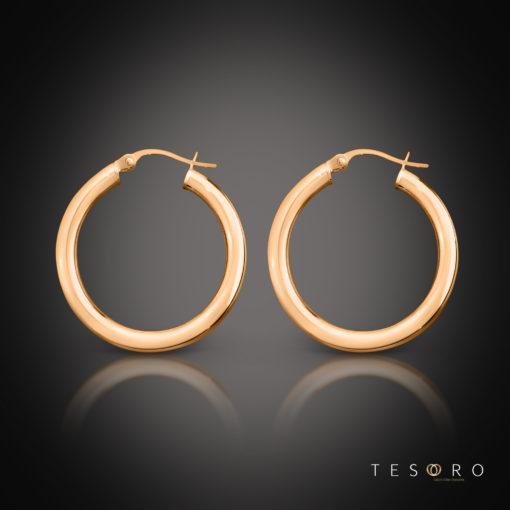 Tesoro Aosta Rose Gold Hoop Earrings 20mm