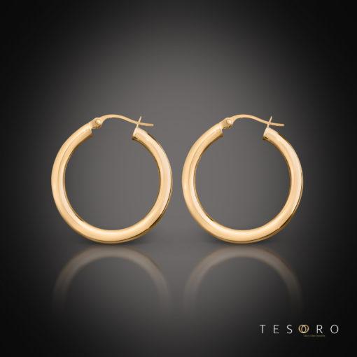 Aosta Rose Gold Hoop Earrings 15mm