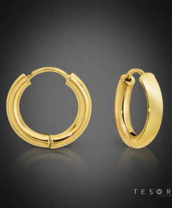Atrani Yellow Gold Huggie Earrings 10mm