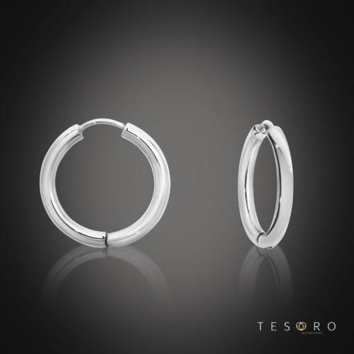 Tesoro Atrani White Gold Huggie Earrings