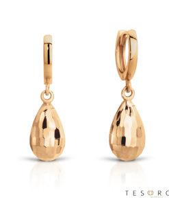 Tesoro Bianze Rose Gold Huggie & Hanging Faceted tear charm