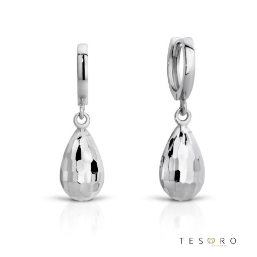 Tesoro Bianze White Gold Huggie & Hanging Faceted tear charm