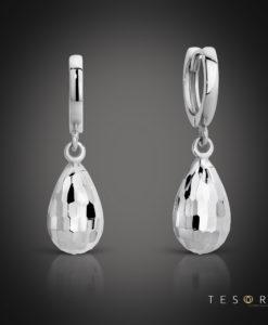 Tesoro Bianze White Gold Huggie & Hanging Faceted tear charm