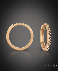 Biella Rose Gold Huggie Earrings Featuring Diamond Cut Frontage