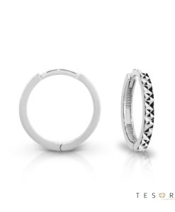 Tesoro Biella White Gold Huggie Earrings