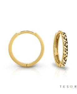Tesoro Biella Yellow Gold Huggie Earrings Featuring Diamond Cut Frontage
