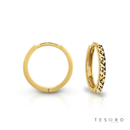 Tesoro Biella Yellow Gold Huggie Earrings Featuring Diamond Cut Frontage