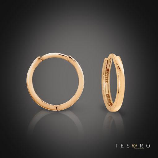Capo Rose Gold Square Frontage Huggie 8mm