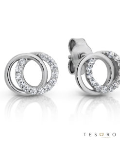 Boves White Gold Cubic Zirconia Stud Earrings