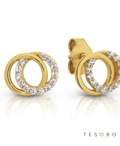 Tesoro Boves Yellow Gold Cubic Zirconia Stud Earrings