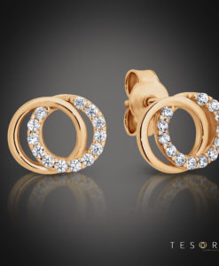 Tesoro Boves Rose Gold Cubic Zirconia Stud Earrings