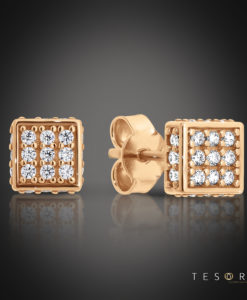 Tesoro Borno Rose Gold Cubic Zirconia Stud Earrings