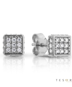 Borno White Gold Cubic Zirconia Stud Earrings