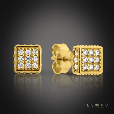 Borno Yellow Gold Cubic Zirconia Stud Earrings