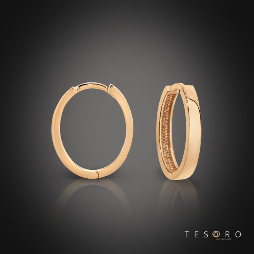 Tesoro Bienno Rose Gold Oval Huggie Earrings