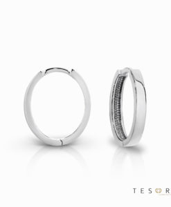 Tesoro Bienno White Gold Oval Huggie Earrings