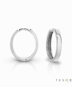 Tesoro Bienno White Gold Oval Huggie Earrings