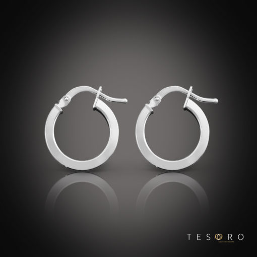 Tesoro Alzano White Gold Hoop Earrings 10mm