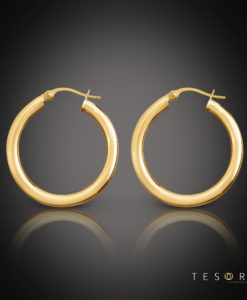 Aosta Gold Hoop Earrings 30mm