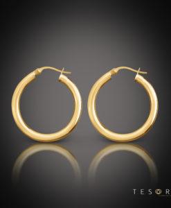 Aosta Gold Hoop Earrings 30mm