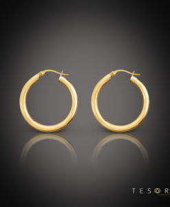 Tesoro Aosta Gold Hoop Earrings 10mm
