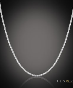 Tesoro Trezzo White Gold 1.2mm Width Round Diamond Cut Wheat Chain With Adjustable Element