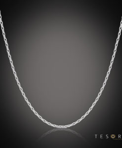 Lorenzo White Gold Adjustable Belcher Chain 47cm