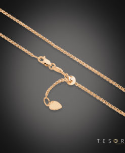 Tesoro Trezzo Rose Gold 1.2mm Width Round Diamond Cut Wheat Chain With Adjustable Element