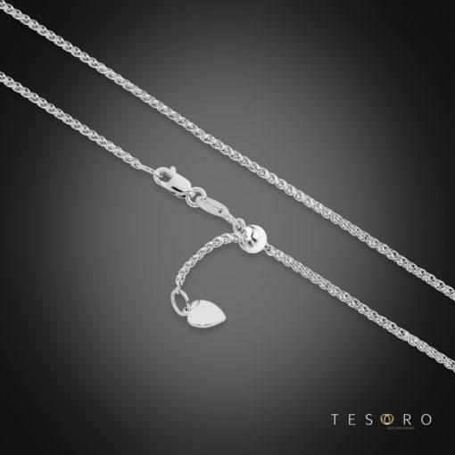 Tesoro Trezzo White Gold 1.2mm Width Round Diamond Cut Wheat Chain With Adjustable Element