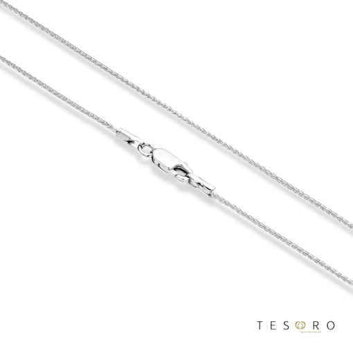 Cascina White Gold Diamond Cut Wheat Link Chain