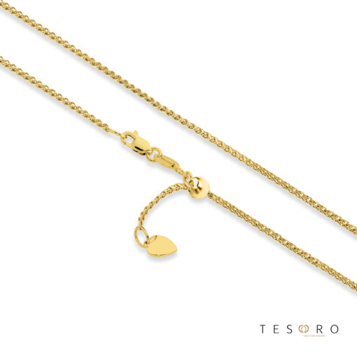 Tesoro Trezzo Yellow Gold 1.2mm Width Round Diamond Cut Wheat Chain With Adjustable Element