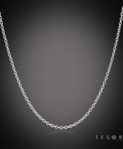 Tesoro Caserta White Gold Adjustable Trace Link Chain