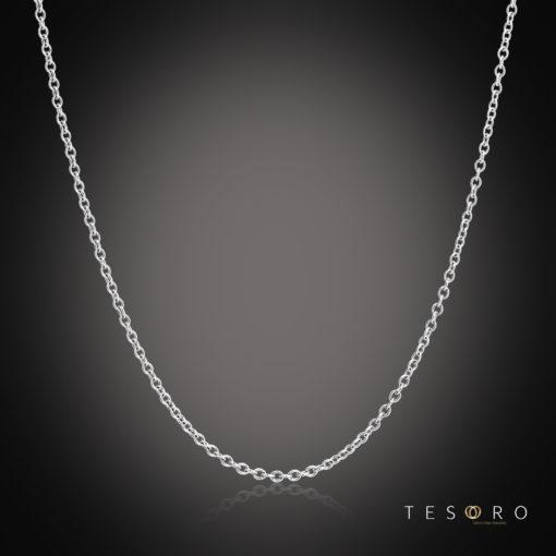 Tesoro Caserta White Gold Adjustable Trace Link Chain