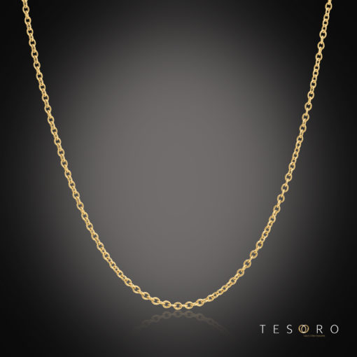 Tesoro Caserta Yellow Gold Adjustable Trace Link Chain