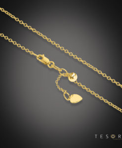 Tesoro Caserta Yellow Gold Adjustable Trace Link Chain