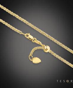 Tesoro Mare Yellow Gold Diamond Cut Wheat Link Chain With Adjustable Fitting
