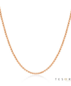 Tesoro Mare White Gold Diamond Cut Wheat Link Chain With Adjustable Fitting