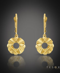 Savona Yellow Gold Round Dangle Earrings