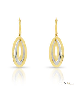 San Leo Yellow & White Gold Oval Dangle Earrings